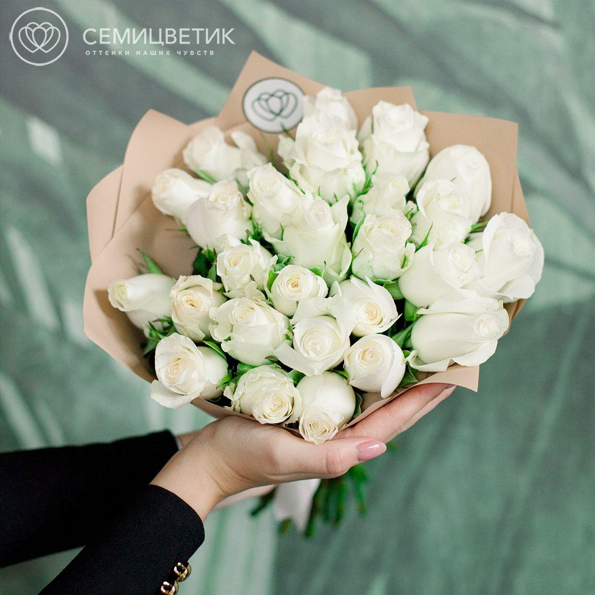 25 белых роз 40 см Premium фото