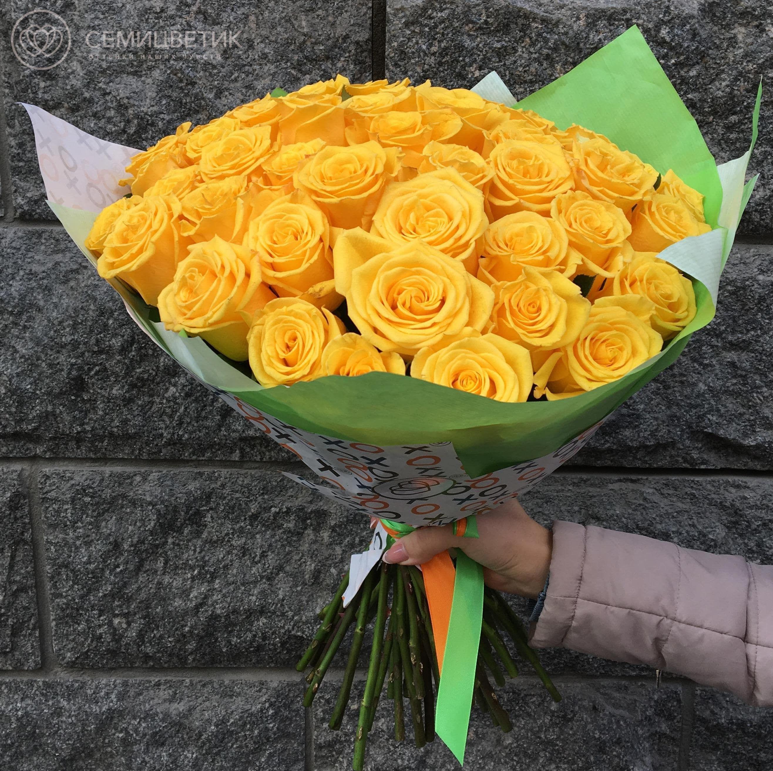 51 желтая роза Sonrisa 50 см фото