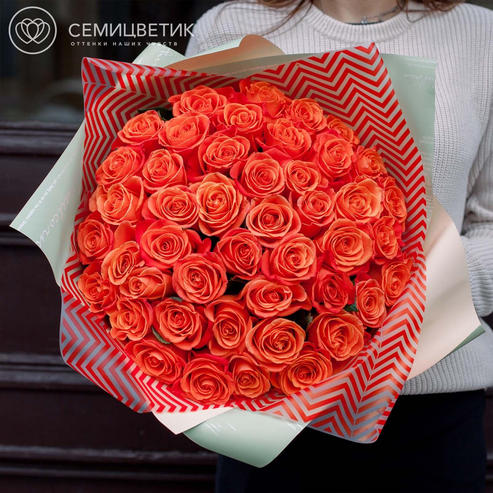 101 оранжевая роза 40 см Premium фото