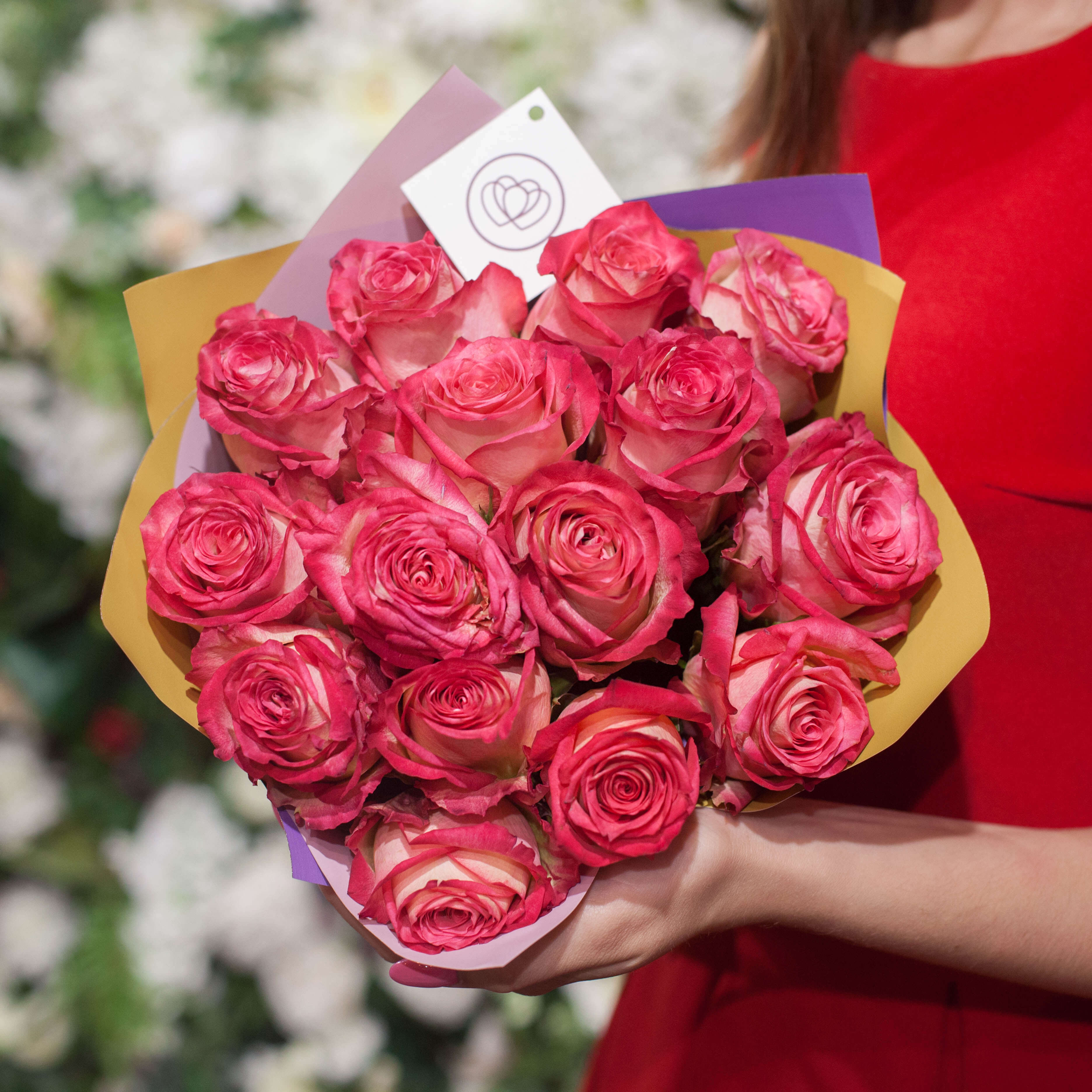 15 розовых биколор роз 40 см Premium фото