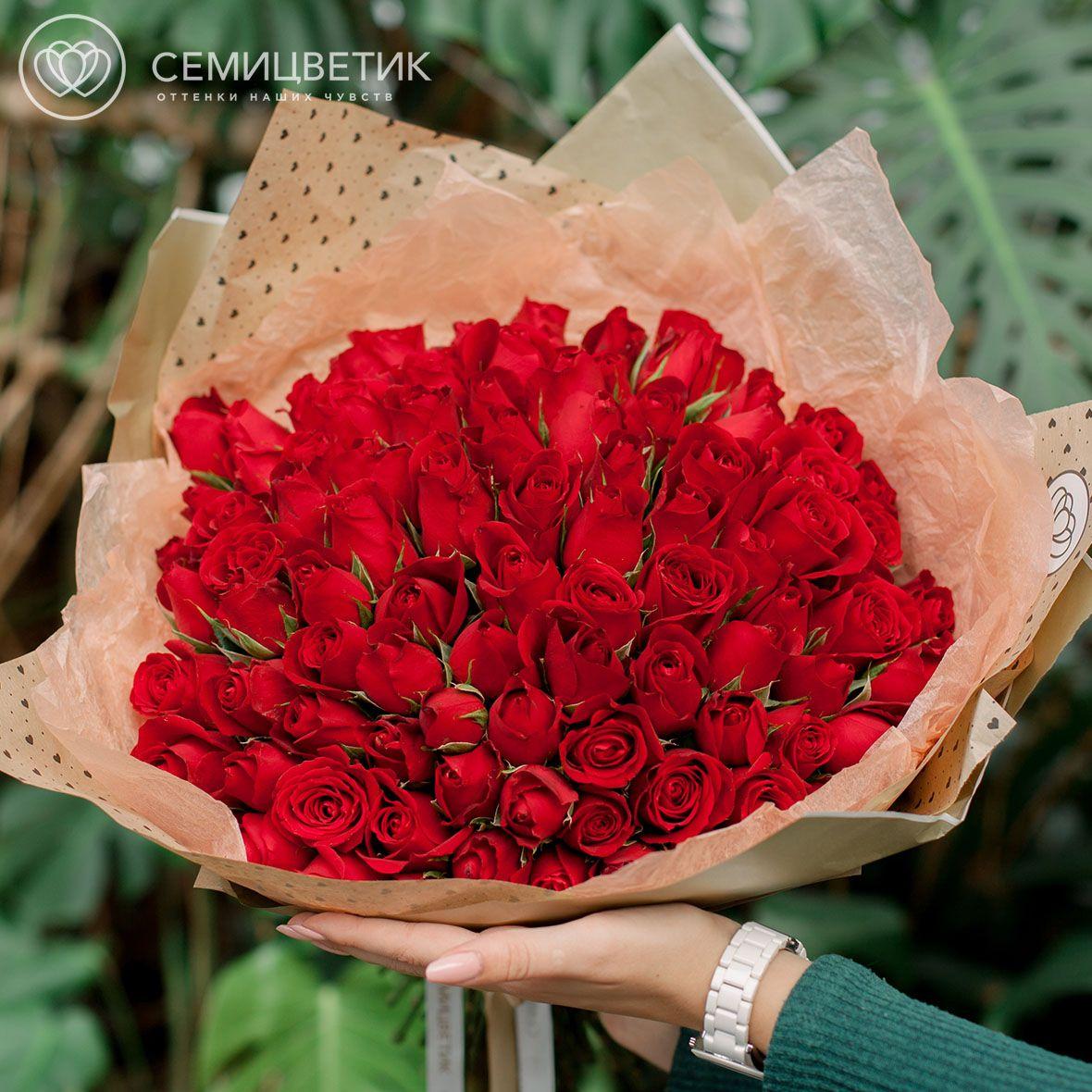 101 красная роза 40 см Standart SP фото