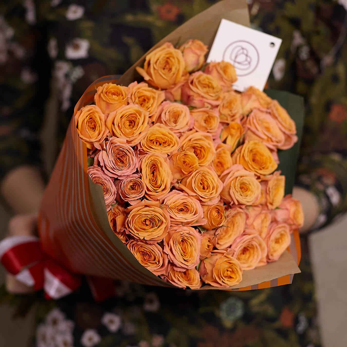 15 оранжевых кустовых роз 40 см фото