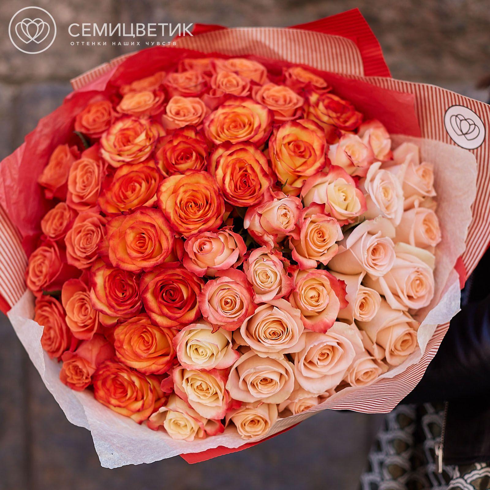 Букет-градиент кремово-оранжевый из 51 розы 50 см фото