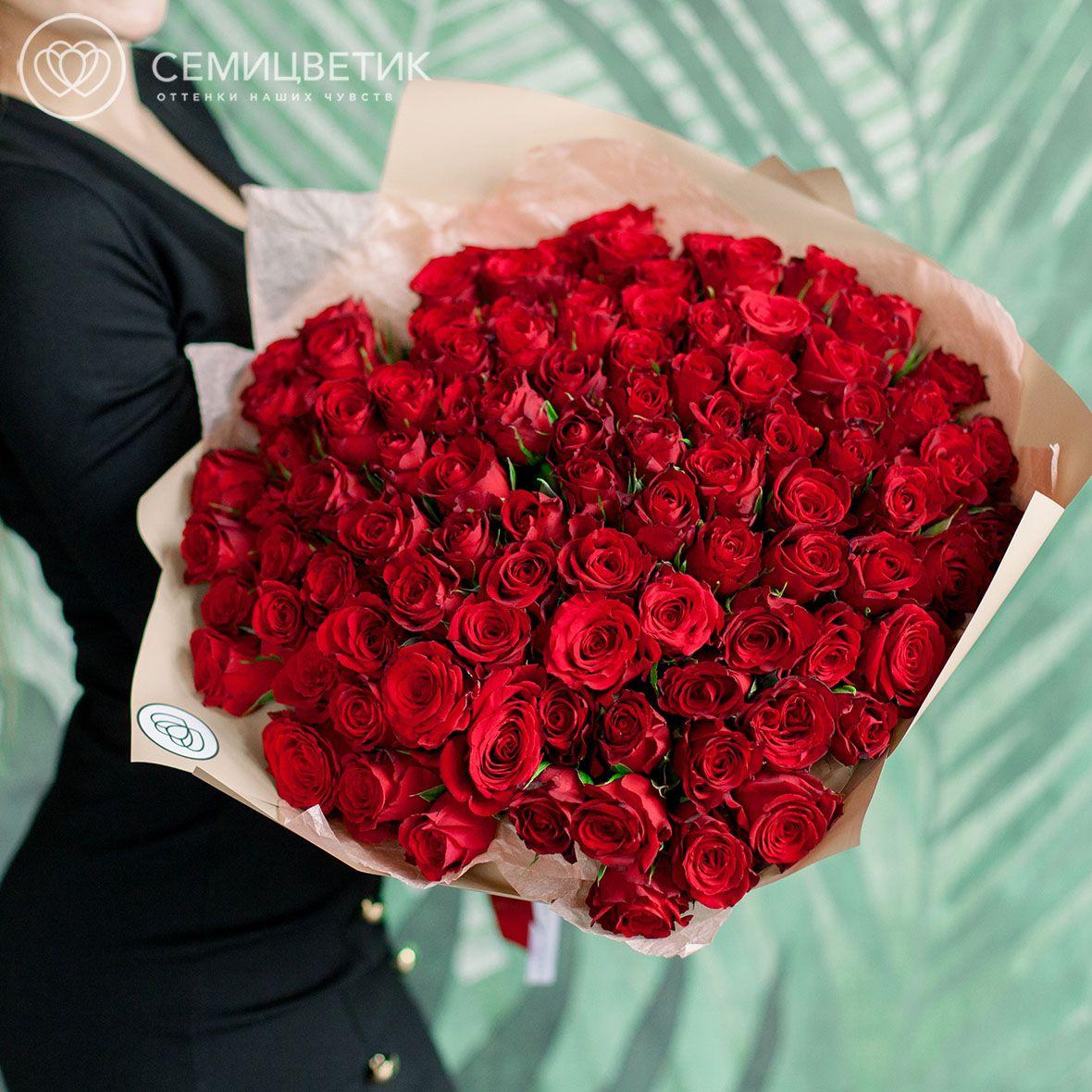 101 красная роза 40 см Premium фото