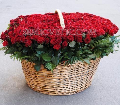 Композиция из 501 красной розы в корзине фото