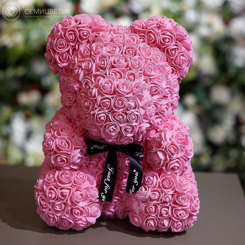 Мишка из роз розовый 40 см фото