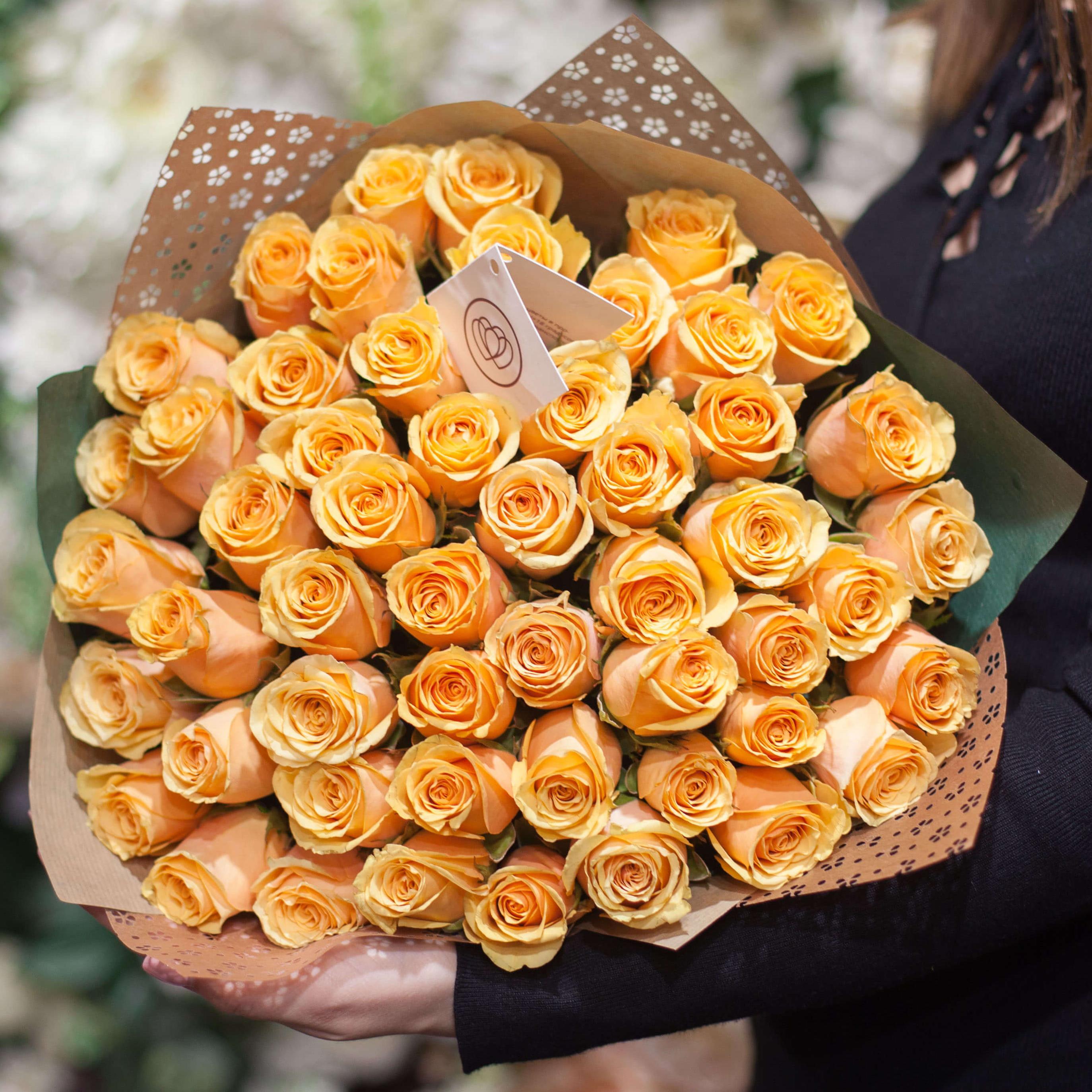 51 персиковая роза 40 см Premium фото