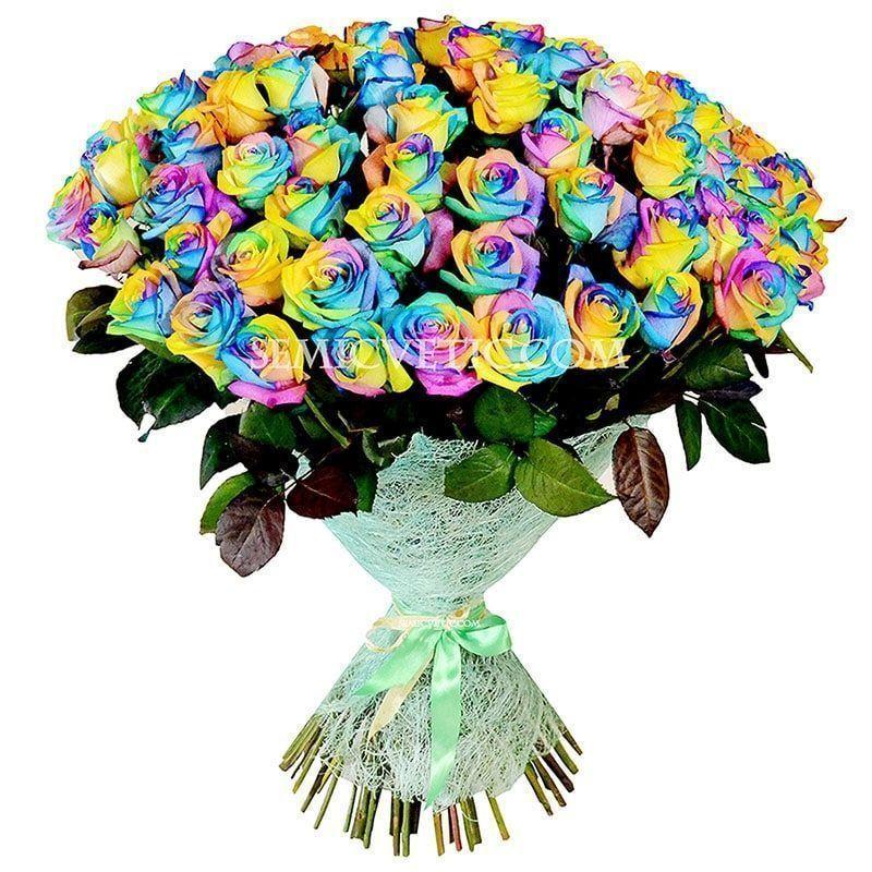 101 радужная роза 60 см фото